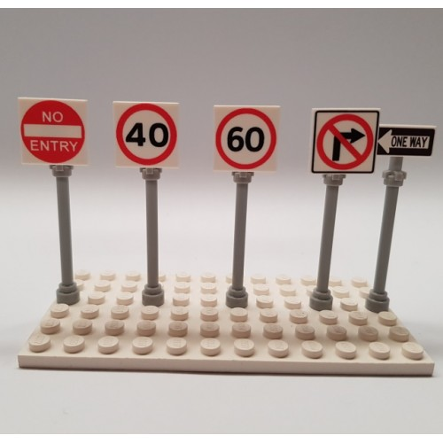 LEGO Custom Printed City Road Signs
