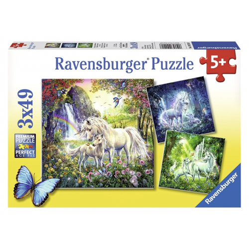 Ravensburger -Beautiful Unicorns puzzle 3 x 49pc