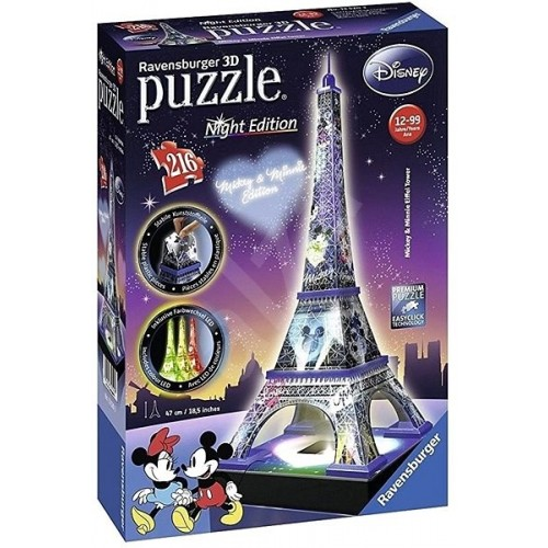 Effiel Tower at Night Mickey & Minnie Edition 216 pc 3D Puzzle